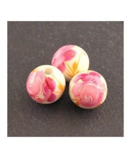 perle céramique motif rose 12mm