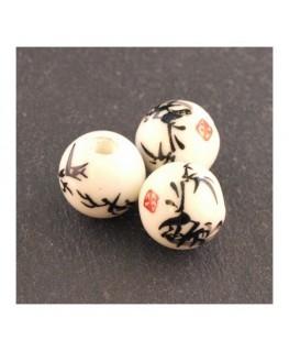 perle céramique motif chinois noir