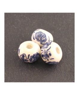 perle céramique motif chinois bleu