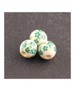 perle céramique fleurie vert 8mm