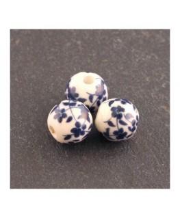 perle céramique fleurie bleu marine 8mm