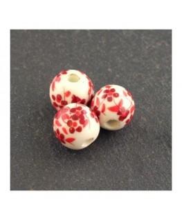 perle céramique fleurie rouge 8mm