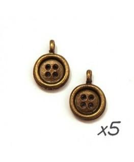 breloque bouton bronze