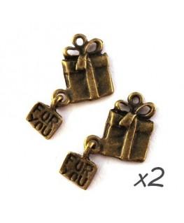 Breloque cadeau bronze