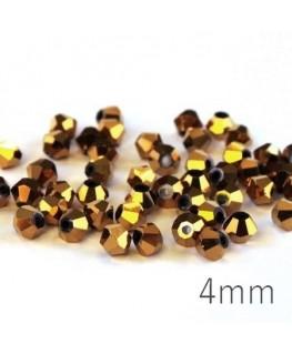 Perle toupie verre 4mm or doré x50