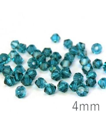 Perle toupie verre 4mm bleu zircon x50