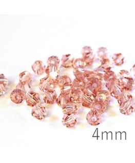 Perle toupie verre 4mm rosaline x50