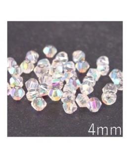 Perle toupie verre 4mm cristal AB x50