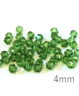 Perle toupie verre 4mm vert moyen x50