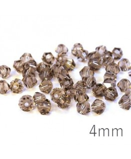 Perle toupie verre 4mm smoky quartz x50