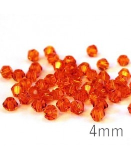 Perle toupie verre 4mm orange x50