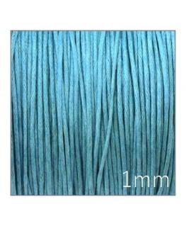 cordon coton ciré 1mm turquoise
