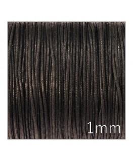 cordon coton ciré 1mm noir