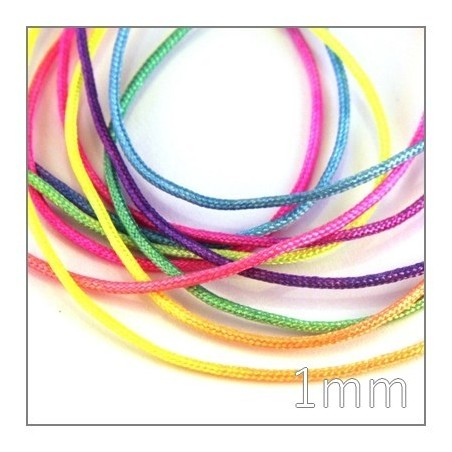 cordon nylon tressé 1mm multicolore