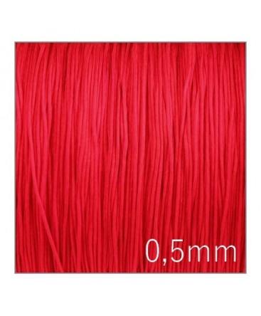 cordon nylon tressé 0,5mm rouge
