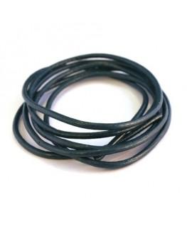 cordon cuir 2mm bleu foncé