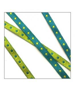 ruban à pois vert pour bijoux