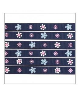 ruban bleu fleurs pour bijoux