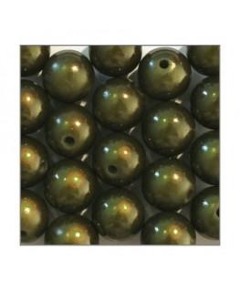 Perle magique 12mm vert kaki x20