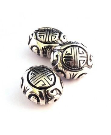 Perle CCB ovale argent vieilli x1