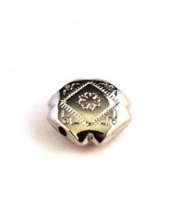 Perle CCB carrée / croix argent x1