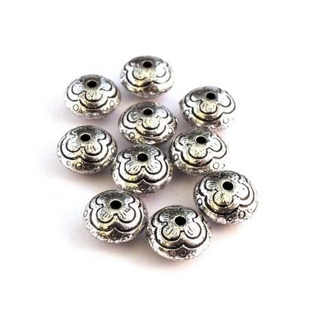 Perle ccb ronde aplatie argent vieilli x10