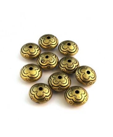 Perle ccb ronde aplatie bronze x10