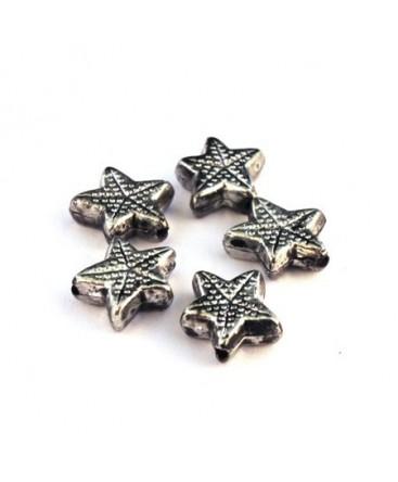 Perle CCB étoile de mer argent vieilli x10