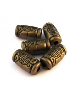 Perle tube effet métal bronze x5