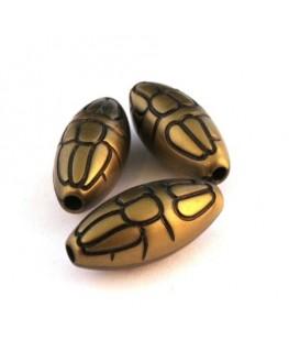 Perle olive effet métal bronze x5