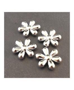 Perle CCB fleur 25mm argent x4