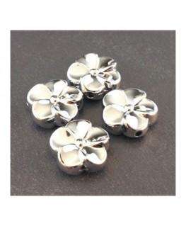 Perle CCB fleur 20mm argent x4