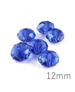 Perle rondelle à facettes 12mm sapphire