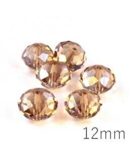 Perle rondelle à facettes 12mm crystal shadow