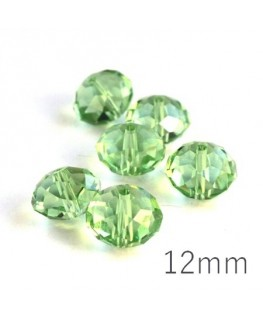 Perle rondelle à facettes 12mm péridot x10