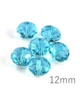 Perle rondelle à facettes 12mm turquoise x10