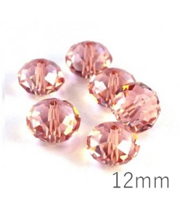 Perle rondelle à facettes 12mm rosaline x10