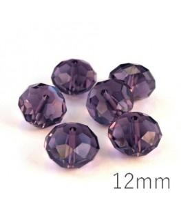 Perle rondelle à facettes 12mm violet x10