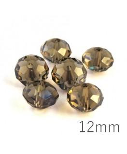 Perle rondelle à facettes 12mm black diamond