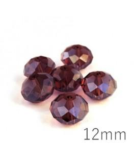 Perle rondelle à facettes 12mm amethyst x10