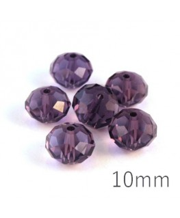 Perle rondelle à facettes 10mm violet x10