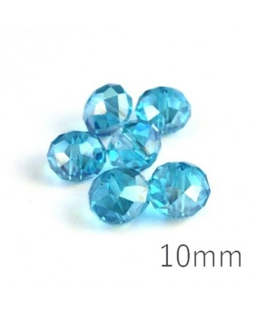 Perle rondelle à facettes 10mm turquoise AB x10
