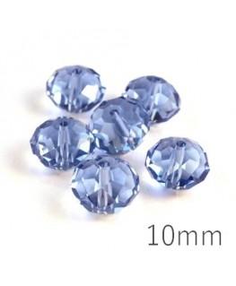 Perle rondelle à facettes 10mm light sapphire x10