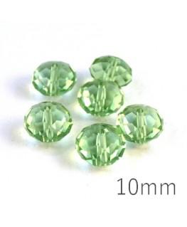 Perle rondelle à facettes 10mm péridot x10