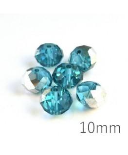 Perle rondelle à facettes 10mm turquoise argenté