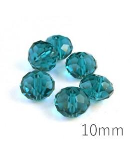 Perle rondelle à facettes 10mm bleu zircon x10