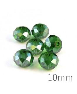 Perle rondelle à facettes 10mm vert émeraude