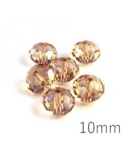 Perle rondelle à facettes 10mm cristal shadow