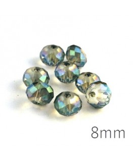 Perle rondelle à facettes 8mm cristal vert x10