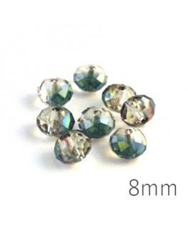 Perle rondelle à facettes 8mm cristal demi-vert